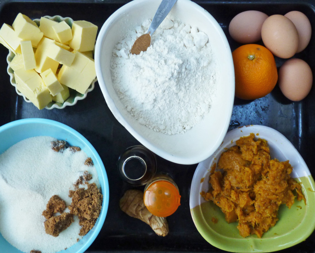 Ingredients for pumpkin bundt cake