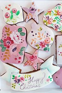 christmas floral cookies